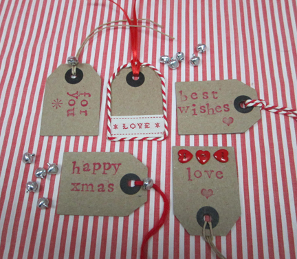Brown decorated tags for Advent Calendar
