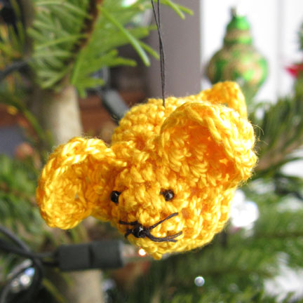 Yellow Crochet Mouse Christmas Tree Decoration for Advent Calendar Day 17