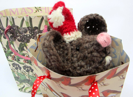 Crochet Mouse in Gift Bag  for Advent Calendar - Day Seventeen