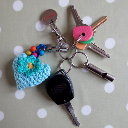 Crochet Heart Key Ring
