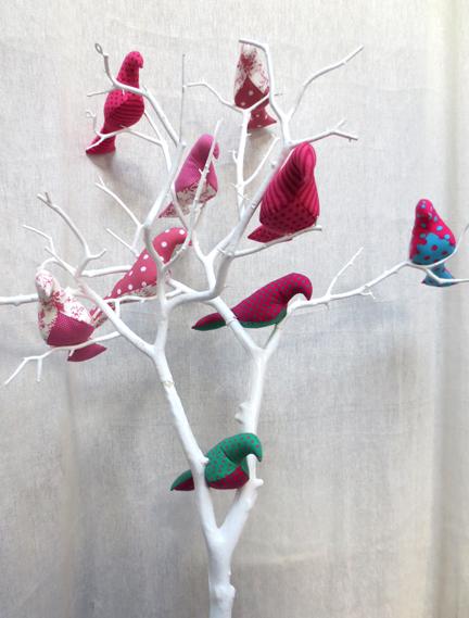 pink Fabric birds in tree