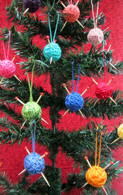 yarn ball decorations Christmas Countdown Day 2