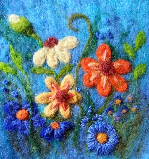 Embroidered needlefelt flowers