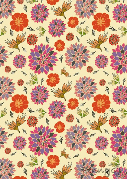 Autumn Colours Bold Flower Pattern - Penny GJ