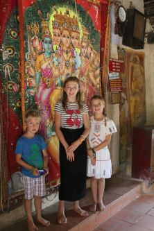 Kids in front of the prayer curtain at Embakke Temple
