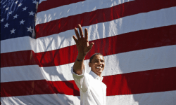 Obama in front of Huge Flag