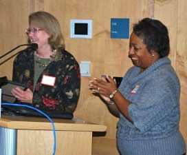 Cynthia Mendez (r) with Marge Smith (l), the first chair of the Princeton Human Services Commission.