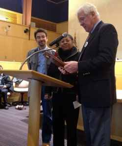 Anton Lahnston thanks former Borough Mayor Yina Moore and former Township Mayor Chad Goerner. Photo: Anna Savoia.