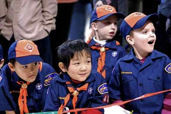 Mesmerized by the Racing Action (l-r): Nicholas Niforatos, Anderson Chiang, Matthew Tolin and Alexander Sass, members of the Pack's youngest rank, the Tigers, enjoy watching the race.  Photo: Robert Orlando, Nexus Media.