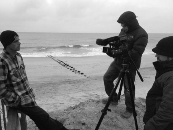 """Pro surfer Randy Townsend is interviewed for the documentary """"Landfall: Through the Eyes of Sandy."""""""
