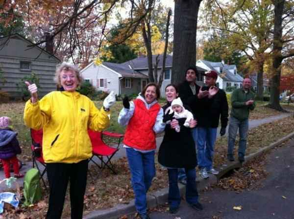 The Stanley Avenue cheering section, supporting  neighbors, Jess and Jeff. Photo courtesy of Sally Chrisman.