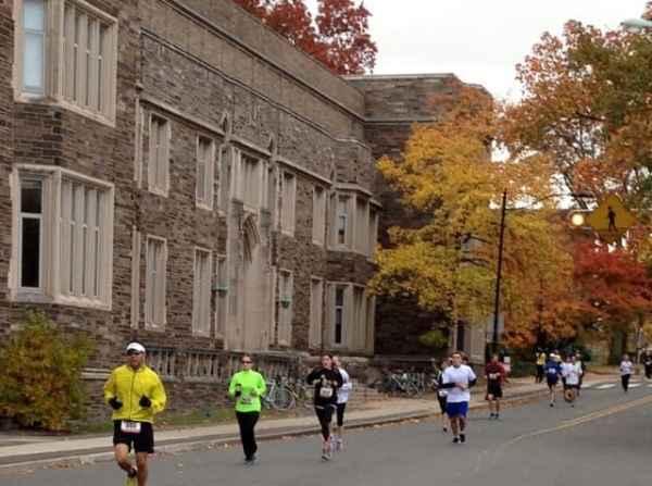 Runners on Washington Road.
