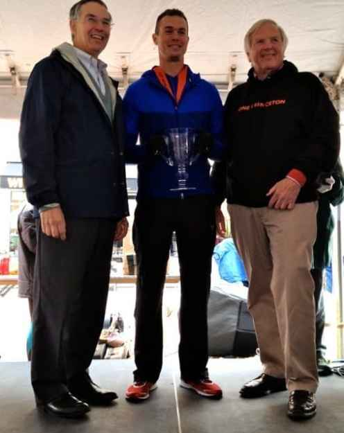First place finisher Michael Davis of Scotch Plains receives his award from U.S. Rep. Rush Holt.