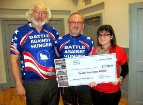 Chuck Inman (l) founded the Battle Against Hunger Bike Ride, which has raised hundreds of thousands of dollars for soup kitchens in New Jersey.