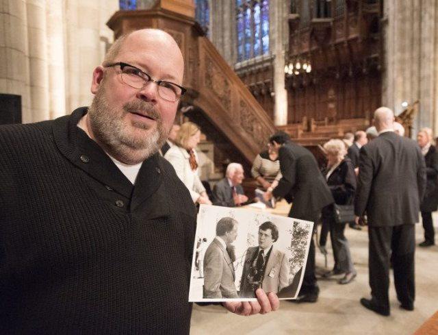 Photographer Jay Bryant of West Windsor at the Jimmy Carter talk at the Princeton University Chapel today.