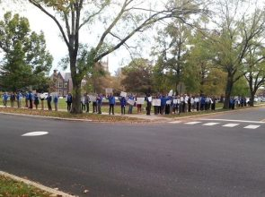 Princeton teachers line up at one of several rallies to demand a new contract.