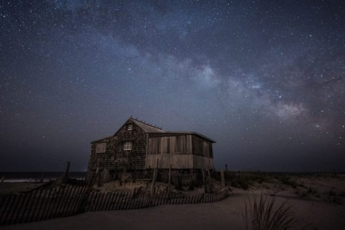 Moonlight on Judge's Shack, Island Beach by Ray Yeager.