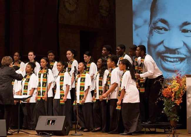 The Trenton Children's Chorus performs at the beginning of the King Day celebration at Princeton University.