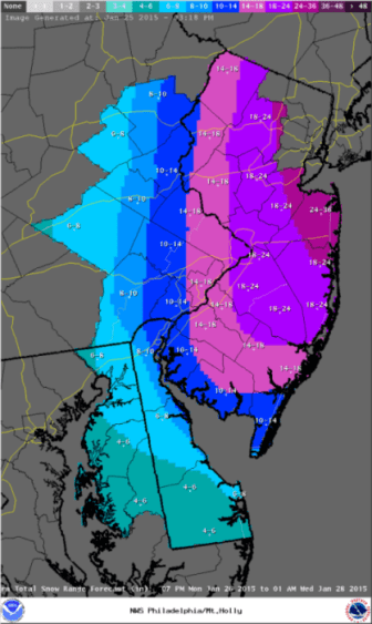 Winter storm warning Jan 25