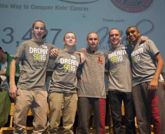 (l-r) Lawrenceville School students Sam Kirby, Louis Stratton, Hutch Collins, Derek Piccinich, and Pranay Sinah after having their heads shaved today.