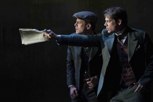 Lucas Hall and Gregory Wooddell in Baskerville: A Sherlock Holmes Mystery. Photo by Margot Shulman