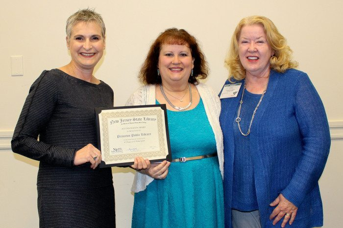 Princeton Public Library Executive Director Leslie Burger (l), Janie Hermann, public programming librarian (c); and Peggy Birdsall Cadigan, deputy state librarian for innovation & strategic partnerships, New Jersey State Library (r).