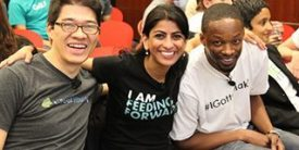 Tech nonprofit stars from Fast Forward's 2015 Accelerator program show off their startup gear. Photo: Fast Forward.