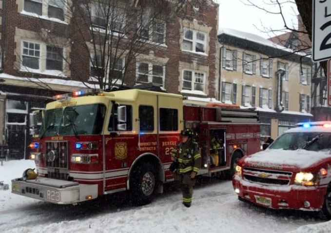 Several fire companies responded to a second-alarm fire call at J. McLAughlin on Witherspoon Street during the blizzard Saturday.