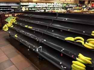 A shelf at Wegmans in West Windsor on Thursday night. Area grocery stores were packed with people stocking up on food for the storm.