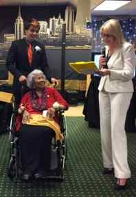 Lillette Pettus, 102, with Princeton student Byron Sanborn.