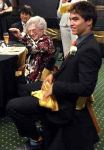 Elverna VanDyke, 101, with Princeton student Byron Sanborn.