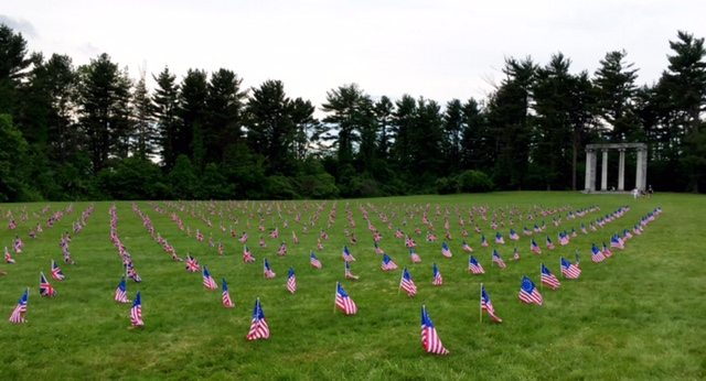 Memorial Day Remembrance - British and U.S. flags representing the 534 soldiers killed, wounded or captured at the Princeton Battlefield, Photo: Krystal Knapp.