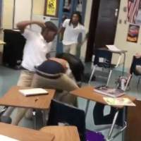 Yikes: An All Out Brawl In Front Of A Classroom!