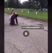 Ouch: Chick Gets Dropped On Her Neck During A Fight!