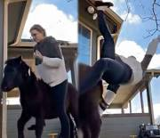 Down For The Count: Woman Tried To Ride A Pony & Ended Up Getting The Wind Knocked Out Of Her!