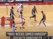 "Rockets Announcer Says: ""Who needs James Harden?"" After Christian Wood Bucket"