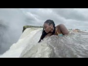 Wildin: Chick Lays Down On The Edge Off A 380 Foot Waterfall!
