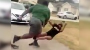 Damn: Chick Gets Superman Punched During A Fight!