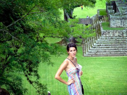 Travel Photo: Honduras - Jess Looking Over The Mayan Ruins of Copan Ruinas