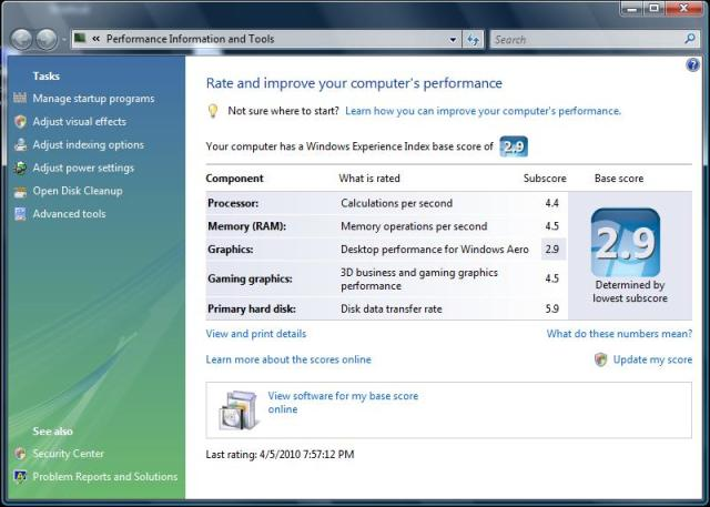 VMware Fusion 3.1 RC Performance Index
