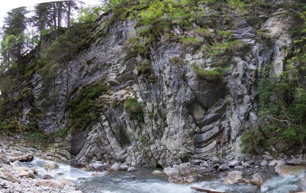 Outcrop at the Gorge of the Bernhardsbach, Ebigenalb, Lechtal, Austria