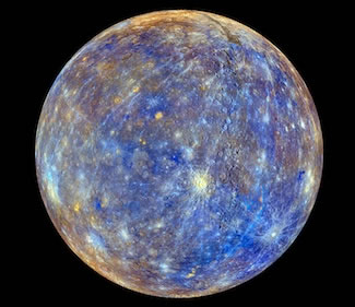 False-color photo of Mercury, as mapped by the NASA MESSENGER probe. The color variation signifies the varying composition of rocks on Mercury's surface. Watch video here. Photo: NASA.