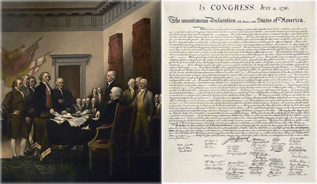 In 1817, John Trumbull painted the famous portrait of the presentation of the Declaration if Independence to Congress. Note, this is not the signing of the document.