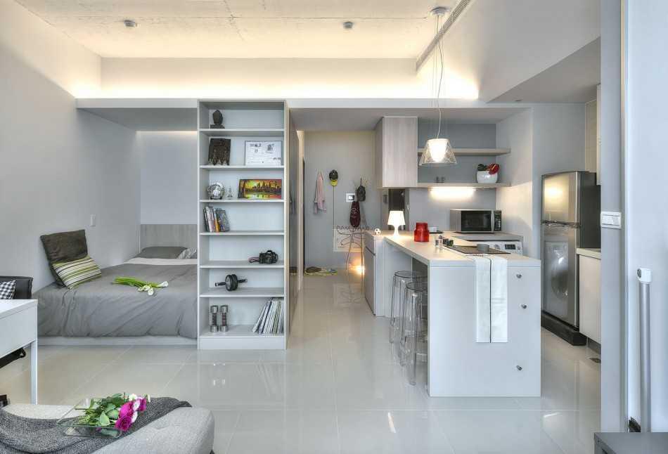 дизайн комнаты 18 квм в однокомнатной квартире фото 3