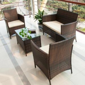 4 Piece Cushioned Patio Rattan Furniture Set