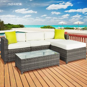5PC Rattan Wicker Sofa Set Cushioned Sectional Outdoor Furniture