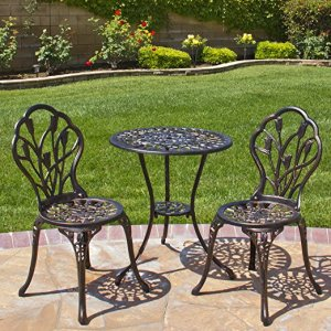 Antique Copper Tulip Design Cast Aluminum 3 Piece Bistro Set