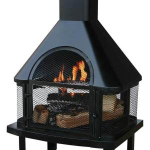 Black Uniflame Firehouse with Chimney