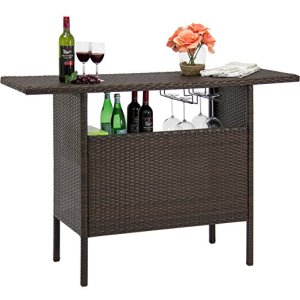 Brown Outdoor Patio Wicker Bar Counter Table