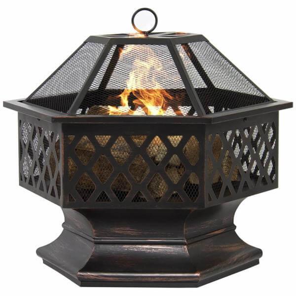 Hex Shaped Outdoor Home Garden Fireplace